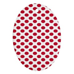 Polka Dot Red White Oval Ornament (Two Sides)