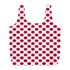 Polka Dot Red White Full Print Recycle Bags (l)