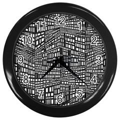 Plaid Black White Wall Clocks (Black)