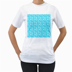 Record Blue Dj Music Note Club Women s T-Shirt (White) (Two Sided)