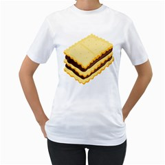 Sandwich Biscuit Chocolate Bread Women s T-Shirt (White) (Two Sided)