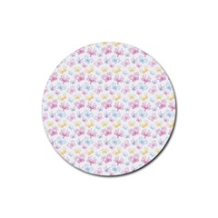 Pretty Colorful Butterflies Rubber Coaster (Round)