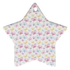 Pretty Colorful Butterflies Star Ornament (Two Sides)