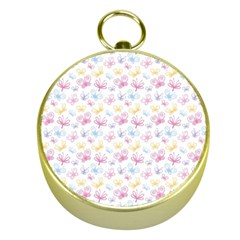 Pretty Colorful Butterflies Gold Compasses