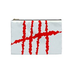 Scratches Claw Red White H Cosmetic Bag (Medium)