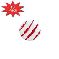 Scratches Claw Red White 1  Mini Magnet (10 pack)