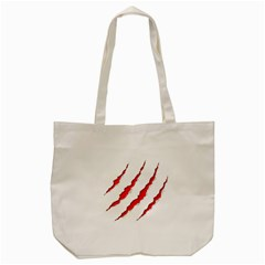 Scratches Claw Red White Tote Bag (Cream)