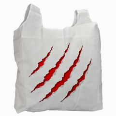 Scratches Claw Red White Recycle Bag (Two Side)