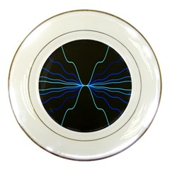 Sine Squared Line Blue Black Light Porcelain Plates