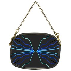 Sine Squared Line Blue Black Light Chain Purses (One Side)