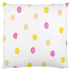 Stone Diamond Yellow Pink Brown Large Flano Cushion Case (one Side)