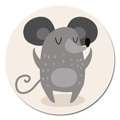 Tooth Bigstock Cute Cartoon Mouse Grey Animals Pest Magnet 5  (round)