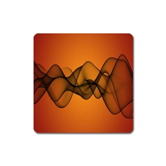 Transparent Waves Wave Orange Square Magnet