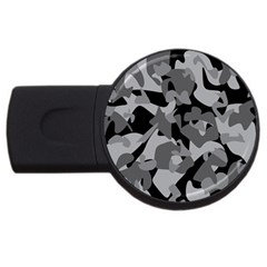 Urban Initial Camouflage Grey Black USB Flash Drive Round (1 GB)
