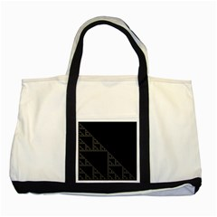 Triangle Black White Chevron Two Tone Tote Bag
