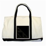 Triangle Black White Chevron Two Tone Tote Bag Front