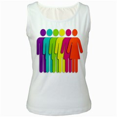 Trans Gender Purple Green Blue Yellow Red Orange Color Rainbow Sign Women s White Tank Top