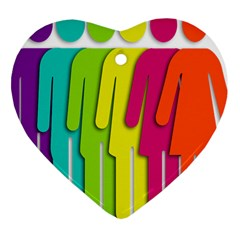 Trans Gender Purple Green Blue Yellow Red Orange Color Rainbow Sign Heart Ornament (Two Sides)