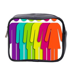 Trans Gender Purple Green Blue Yellow Red Orange Color Rainbow Sign Mini Toiletries Bag 2-Side