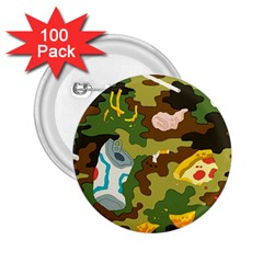 Urban Camo Green Brown Grey Pizza Strom 2.25  Buttons (100 pack)