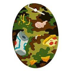 Urban Camo Green Brown Grey Pizza Strom Oval Ornament (Two Sides)