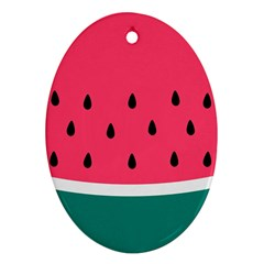 Watermelon Red Green White Black Fruit Ornament (Oval)