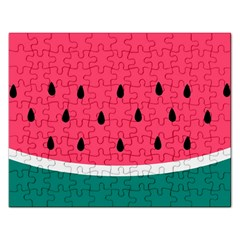 Watermelon Red Green White Black Fruit Rectangular Jigsaw Puzzl