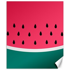 Watermelon Red Green White Black Fruit Canvas 8  X 10