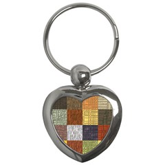 Blocky Filters Yellow Brown Purple Red Grey Color Rainbow Key Chains (Heart)