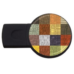 Blocky Filters Yellow Brown Purple Red Grey Color Rainbow USB Flash Drive Round (1 GB)