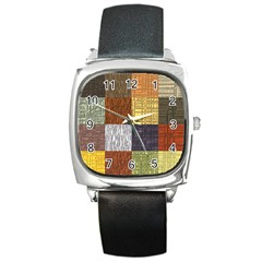 Blocky Filters Yellow Brown Purple Red Grey Color Rainbow Square Metal Watch