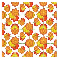 Colorful Stylized Floral Pattern Large Satin Scarf (Square)