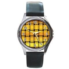 Rough Gold Weaving Pattern Round Metal Watch