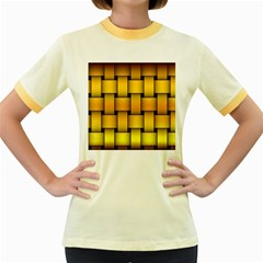 Rough Gold Weaving Pattern Women s Fitted Ringer T Shirts