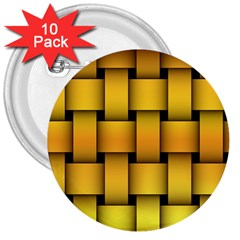 Rough Gold Weaving Pattern 3  Buttons (10 pack)