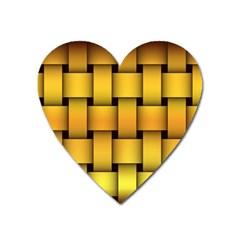 Rough Gold Weaving Pattern Heart Magnet