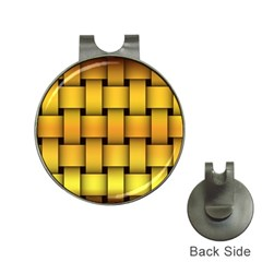 Rough Gold Weaving Pattern Hat Clips With Golf Markers