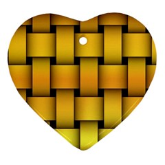 Rough Gold Weaving Pattern Heart Ornament (two Sides)