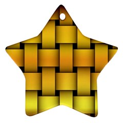 Rough Gold Weaving Pattern Star Ornament (two Sides)