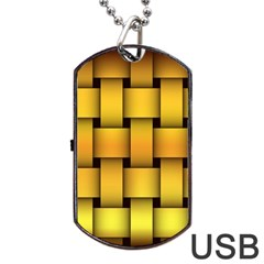 Rough Gold Weaving Pattern Dog Tag USB Flash (Two Sides)