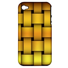 Rough Gold Weaving Pattern Apple iPhone 4/4S Hardshell Case (PC+Silicone)