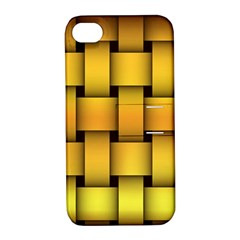 Rough Gold Weaving Pattern Apple iPhone 4/4S Hardshell Case with Stand