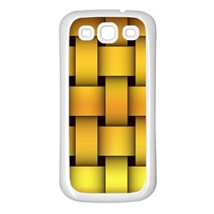 Rough Gold Weaving Pattern Samsung Galaxy S3 Back Case (White)