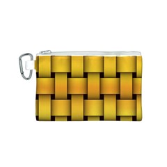 Rough Gold Weaving Pattern Canvas Cosmetic Bag (S)