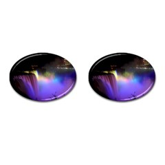 Niagara Falls Dancing Lights Colorful Lights Brighten Up The Night At Niagara Falls Cufflinks (Oval)
