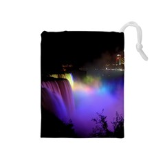 Niagara Falls Dancing Lights Colorful Lights Brighten Up The Night At Niagara Falls Drawstring Pouches (Medium)