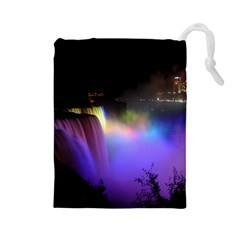 Niagara Falls Dancing Lights Colorful Lights Brighten Up The Night At Niagara Falls Drawstring Pouches (Large)