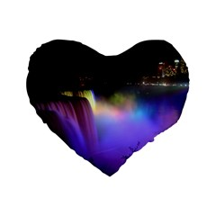 Niagara Falls Dancing Lights Colorful Lights Brighten Up The Night At Niagara Falls Standard 16  Premium Flano Heart Shape Cushions