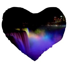 Niagara Falls Dancing Lights Colorful Lights Brighten Up The Night At Niagara Falls Large 19  Premium Flano Heart Shape Cushions