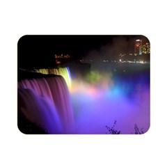 Niagara Falls Dancing Lights Colorful Lights Brighten Up The Night At Niagara Falls Double Sided Flano Blanket (mini)
